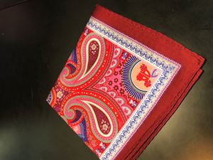Picture of Red Paisley Pocket Square