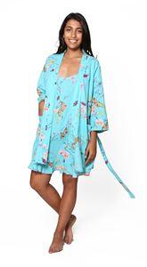 Picture of Cotton Robe - Aqua Floral