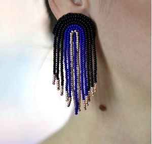 Picture of j: Beaded Fringe Earrings: Black + Blue