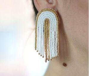 Picture of j: Beaded Fringe Earrings: White + Gold