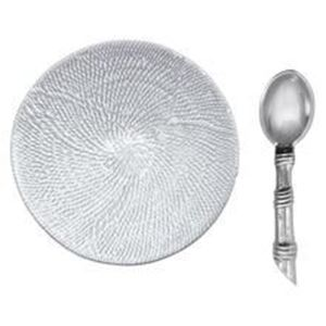 Picture of Mustique Ceramic Canape Plate with Rattan Spoon