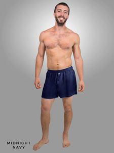 Picture of Linda Hartman Men's Silk Boxers-Midnight Navy